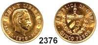 AUSLÄNDISCHE MÜNZEN,Kuba 5 Pesos 1916.  (7,52 g fein).  Schön 13.  KM 19.  Fb. 4.  GOLD