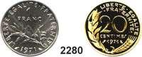 AUSLÄNDISCHE MÜNZEN,Frankreich L O T S     L O T S     L O T SLOT von 4 Piedfort-Prägungen.  10 Centimes 1971; 20 Centimes 1971; 1/2 Franc 1971 und 1 Franc 1971.