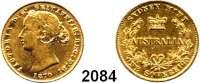 AUSLÄNDISCHE MÜNZEN,Australien Viktoria 1837 - 1901Sovereign 1870, Sydney.  (7,32 g fein).  Schön 6.  KM 4.  Fb. 10.  GOLD
