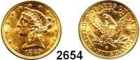 AUSLÄNDISCHE MÜNZEN,U S A 5 Dollars 1885 S, San Francisco  (7,5g fein).  Schön 111.  KM 101.  Fb. 145. GOLD.
