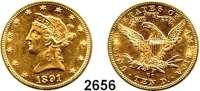 AUSLÄNDISCHE MÜNZEN,U S A 10 Dollars 1891 CC, Carson City.  (15,04g fein).  Schön 112.  KM 102.  Fb. 161.  GOLD.