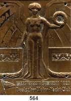 M E D A I L L E N,Schiffsmotive / Schiffsfahrt Bronzeplakette 1923 (A. Werner & Söhne, Berlin).  Herbstregatta Seddinsee.  Deutscher Motor-Yacht-Club.  58 x 78 mm.  104 g.