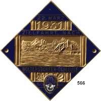 M E D A I L L E N,Automobile / Motorsport Bronze Plakette, blau emailliert 1931.  Zielfahrt nach Woltersdorfer-Schleuse.  65 x 65 mm.  63,5 g.