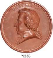 MEDAILLEN AUS PORZELLAN,Staatliche Porzellan-Manufaktur MEISSEN Meisseno.J.(1931) braun.    Erinnerung an das 140. Todesjahr von W. A. Mozart    Formnummer B. 56.    108 mm.