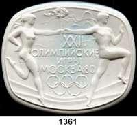 MEDAILLEN AUS PORZELLAN,Andere Hersteller Baranowsky (Moskau)Weiße Hohlmedaille 1980.  Auf die olympischen Spiele in Moskau.  Sportler bei der Übergabe der olympischen Fackel.  Auflage 30 Stück (??).  145 x 121 mm.