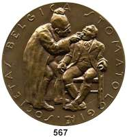 M E D A I L L E N,Medicina in Nummis Einseitige Bronzemedaille o.J. (van der Vael).  Belgische Zahnärztevereinigung.  Historische Zahnbehandlungsszene. / Gravur