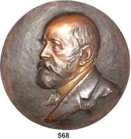 M E D A I L L E N,Medicina in Nummis Einseitige Bronze Hohlgußplakette o.J.  Rudolf Virchow (?).  Brustbild n. l.  196 mm.  701,8 g.
