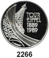 AUSLÄNDISCHE MÜNZEN,Frankreich 5. Republik seit 19585 Francs 1989.  Eiffelturm.  Schön 263.  KM 968.  Im Originaletui mit Zertifikat.