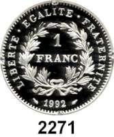 AUSLÄNDISCHE MÜNZEN,Frankreich 5. Republik seit 19581 Franc 1992.  200 Jahre Französische Revolution.  Schön 296.  KM 1005.  Im Originaletui mit Zertifikat.