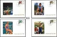 M E D A I L L E N,Olympiade Seoul 1988Drei Mappen der DDR.  Unsere Olympiasieger.  Jeweils mit 34 Briefen (mit Briefmarke und Stempel BERLIN 1085 3.10.88-11) und Bild der Olympiasieger.
