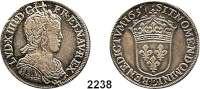 AUSLÄNDISCHE MÜNZEN,Frankreich Ludwig XIV. 1643 - 17151/2 Ecu 1657 E, Tours.  13,45 g.   Duplessy 1470.  KM 164.6.