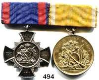 M E D A I L L E N,Schützen PotsdamOrdensschnalle mit 2 Auszeichnungen.  Silbernes Schützenkreuz (935) Gravur 1910 und vergoldete Medaille 1904.  200 Jahrfeier der Wiederbestätigung der privilegien der Schützengilde zu Potsdam.