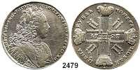 AUSLÄNDISCHE MÜNZEN,Russland Peter II. 1727 - 1730Rubel 1727, St. Petersburg.  27,22 g. Bitkin 149.  KM 183.