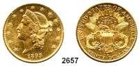 AUSLÄNDISCHE MÜNZEN,U S A 20 Dollars 1893 S, San Francisco (30,09 g fein).  Schön 111.  KM 74.  Fb. 178.  GOLD