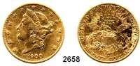 AUSLÄNDISCHE MÜNZEN,U S A 20 Dollars 1900, Philadelphia (30,09 g fein).  Schön 111.  KM 74.  Fb. 177.  GOLD