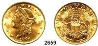 AUSLÄNDISCHE MÜNZEN,U S A 20 Dollars 1904, Philadelphia (30,09 g fein).  Schön 111.  KM 74.  Fb. 177.  GOLD