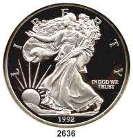 AUSLÄNDISCHE MÜNZEN,U S A Silbermedaille 1992 (5 Unzen Silber).  Prägebild wie Dollar-Silberunze.  63,6 mm.  155,6 g.  Im Etui.