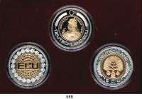 M E D A I L L E N,Bundesrepublik Deutschland SATZ von drei Silbermedaillen (999, teilvergoldet).  DEUTSCHLAND ECU  50 mm.  50 g.  Im Etui.