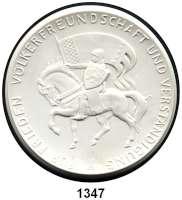 MEDAILLEN AUS PORZELLAN,Moderne Medaillen - Staatliche Porzellanmanufaktur MEISSEN SchwerinWeiße Medaille 1966 (101 mm).  Rat der Stadt.  W. 4418.  Auflage 100 Exemplare.