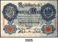 P A P I E R G E L D,R E I C H S B A N K N O T E N 20 Mark 21.4.1910.  KN 6stellig.  Serie K.  Ros. DEU-37 a