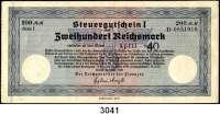 P A P I E R G E L D,Steuergutscheine Steuergutschein ISteuergutschein über 200 Reichsmark.  Einlösbar ab : April 1940.  Rs. Stempel der Firma