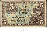 P A P I E R G E L D,BUNDESREPUBLIK DEUTSCHLAND 5 Deutsche Mark 1948.  Mit B-Stempel und B-Perforation.  Ros. WBZ-16 c.