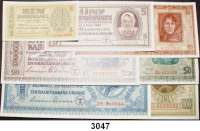 P A P I E R G E L D,Besatzungsausgaben des II. Weltkrieges Zentralnotenbank Ukraine 19421, 5, 10, 20, 50, 100 und 200 Karbowanez 10.3.1942.  Ros. ZWK-47/54.  LOT 7 Scheine.