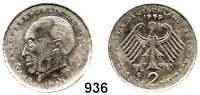 B U N D E S R E P U B L I K,Verprägungen und Kuriositäten 2 Mark 1969 G.  Adenauer.  Jaeger 406.  Verprägung - geprägt auf dünnem Schrötling.  3,78 g. statt 7 g.