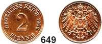 R E I C H S M Ü N Z E N,Kleinmünzen 2 Pfennig 1906 A.