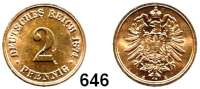 R E I C H S M Ü N Z E N,Kleinmünzen 2 Pfennig 1874 A.
