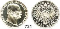 R E I C H S M Ü N Z E N,Sachsen - Altenburg Ernst 1853 - 19082 Mark 1901.