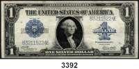 P A P I E R G E L D,AUSLÄNDISCHES  PAPIERGELD U.S.A.1 Silver-Dollar 1923.  Lfd. Nr. B32115223E-225E.  Pick 342.  LOT 3 Scheine mit fortlfd. Nummern.