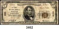 P A P I E R G E L D,AUSLÄNDISCHES  PAPIERGELD U.S.A.5 Dollars 1929.  National Currency.  THE FIRST NATIONAL BANK OF BOSTON, MASSACHUSETTS. Braunes Siegel und div. Unterschriften.