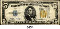 P A P I E R G E L D,AUSLÄNDISCHES  PAPIERGELD U.S.A.5 Dollars 1934 A.