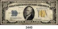 P A P I E R G E L D,AUSLÄNDISCHES  PAPIERGELD U.S.A.10 Dollars 1934 A.  Silver Certificate.  Gelbes Siegel.  KN  B...A.  Zur Nutzung nur für das Militär in Nordafrika.  Pick 415 Y.
