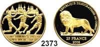 AUSLÄNDISCHE MÜNZEN,Kongo - Kinshasa 25 Francs 2006 (4,56 g fein).  Fußball WM 2006 - Spieler vor Skyline.  GOLD