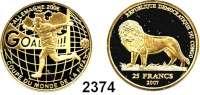 AUSLÄNDISCHE MÜNZEN,Kongo - Kinshasa 25 Francs 2007 (4,56 g fein).  Fußball WM 2006 - Spieler beim Torjubel.  GOLD