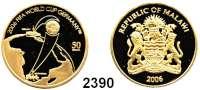 AUSLÄNDISCHE MÜNZEN,Malawi 50 Kwacha 2006 (4,56 g fein).  Fußball WM 2006.  Schön 111.  KM 108.  GOLD