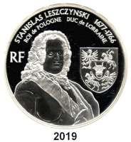 AUSLÄNDISCHE MÜNZEN,E U R O  -  P R Ä G U N G E N Frankreich20 Euro 2007.  (Silber, 5 Unzen).  Stanislaw I. Leszczynski in Lothringen.  Schön 906.  KM 1513.  Im Originaletui mit Zertifikat.