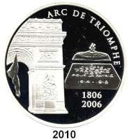 AUSLÄNDISCHE MÜNZEN,E U R O  -  P R Ä G U N G E N Frankreich20 Euro 2006.  (Silber, 5 Unzen).  Triumphbogen - Invalidendom.  Schön 855.  KM 2056.  Im Originaletui mit Zertifikat.