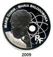 AUSLÄNDISCHE MÜNZEN,E U R O  -  P R Ä G U N G E N Frankreich20 Euro 2006.  (Silber, 5 Unzen).  Marie Curie.  Schön 851.  KM 2050.  Im Originaletui mit Zertifikat.