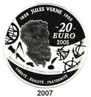 AUSLÄNDISCHE MÜNZEN,E U R O  -  P R Ä G U N G E N Frankreich20 Euro 2005.  (Silber, 5 Unzen).  Jules Verne - Von der Erde zum Mond.  Schön 816.  KM 2032.  Im Originaletui mit Zertifikat.