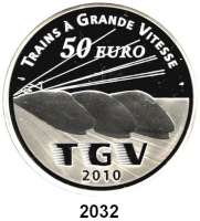 AUSLÄNDISCHE MÜNZEN,E U R O  -  P R Ä G U N G E N Frankreich50 Euro 2010.  (Silber, 5 Unzen).  Eisenbahn TGV.  Schön 1137.  KM 1703.  Im Originaletui mit Zertifikat.
