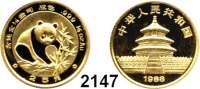 AUSLÄNDISCHE MÜNZEN,China Volksrepublik seit 194925 Yuan 1988.  (1/4 UNZE  7,78 g. fein).  Panada beim Ergreifen eines Bambuszweiges.  Schön 179.  KM 185.  Fb. B 6.  Verschweißt.  GOLD