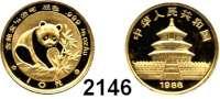 AUSLÄNDISCHE MÜNZEN,China Volksrepublik seit 194910 Yuan 1988.  (1/10 UNZE 3,11 g. fein).  Panda.  Schön 178.  KM 184.  Fb. B 7.  GOLD