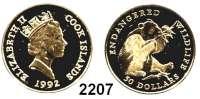 AUSLÄNDISCHE MÜNZEN,Cook Islands 50 Dollars 1992.  (4,53 g. fein).  Panda.  Schön 231.  KM 133.  Fb. 37 b.  GOLD