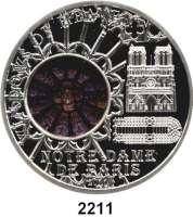 AUSLÄNDISCHE MÜNZEN,Cook Islands 10  Dollars mit Glasinlay 2011.  Windows of Heaven - Kathedrale Notre-Dame de Paris.  Schön 1714.  KM 1643.