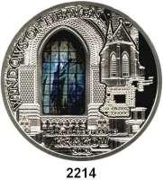 AUSLÄNDISCHE MÜNZEN,Cook Islands 10  Dollars mit Glasinlay 2012.  Windows of Heaven - Franziskanerkirche in Krakau.  Schön 1833.  KM 1433.