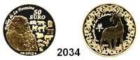 AUSLÄNDISCHE MÜNZEN,E U R O  -  P R Ä G U N G E N Frankreich50 Euro 2015.  (7,77 g fein).  La Fontaine - Jahr der Ziege.  KM 2325.  GOLD