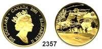 AUSLÄNDISCHE MÜNZEN,Kanada Elisabeth II. 1952 -200 Dollars 2001.  (15,69 g fein).  Gemälde